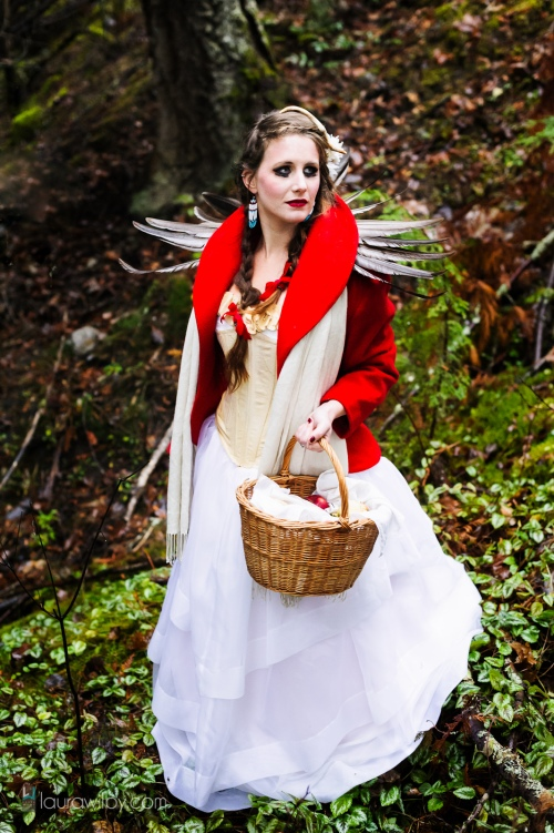 red with basket in ravine